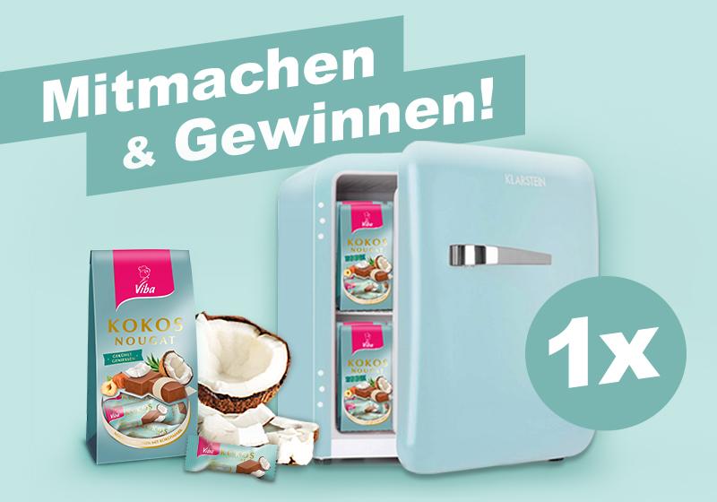 Jetzt am Gewinnspiel teilnehmen und mit etwas Glück einen Mini-Kühlschrank gefüllt mit Kokos-Nougat gewinnen.