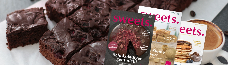 Viba sweets Magazin-Titel vor Heilemann Schokoladenkuchen und Kaffeetasse