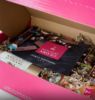 Pinke Box gefüllt mit Viba Nougat